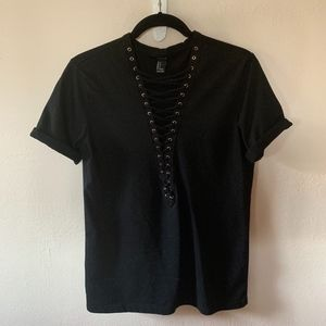 Forever 21 Tops - Black lace up front t-shirt